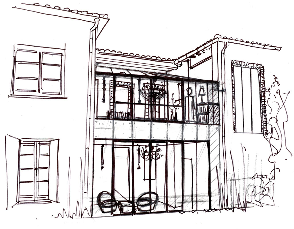 Croquis verri re architecte d int rieur toulouse sophie for Architecte interieur toulouse