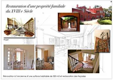Architecture et décoration d'intérieur: restauration d'une propriété familiale du XVIII Siècle